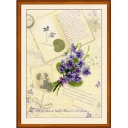 """RIOLIS: Siuvinėjimo rinkinys su ant medžiagos atspaustu piešiniu """"Meilės laiškai su žibuoklėm"""" 0039 PT (21x30 cm)"""