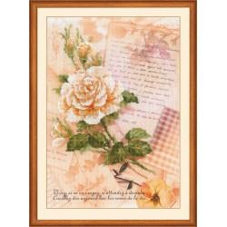 """RIOLIS: Siuvinėjimo rinkinys su ant medžiagos atspaustu piešiniu """"Meilės laiškai su rože"""" 0035 PT (21x30 cm)"""