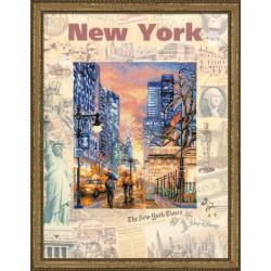"""RIOLIS: Siuvinėjimo rinkinys su ant medžiagos atspaustu piešiniu """"New York"""" 0025 PT (30x40 cm)"""
