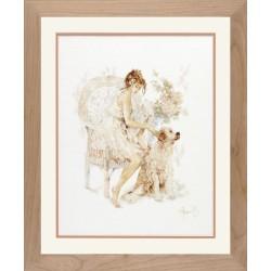 """Lanarte: Siuvinėjimo rinkinys """"Mergina su ištikimu draugu"""" PN/0007951 (39x49 cm)"""
