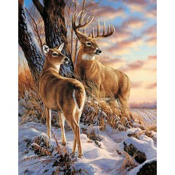 Deimantinis paveikslas Deer in Winter WD085 38*48 cm