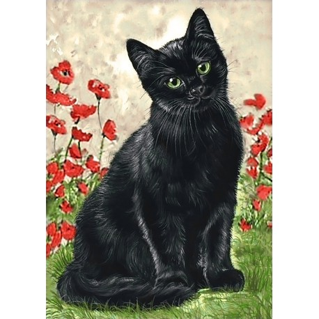 Deimantinis paveikslas Black Kitty WD208 27*38 cm