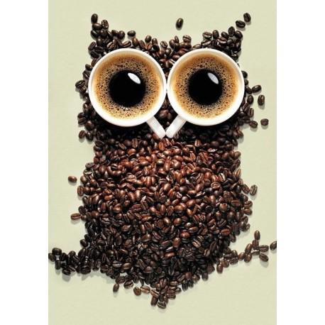 Diamond painting kit Coffee Owl WD242