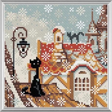 City & Cats Winter diamond mosaic kit by RIOLIS Ref. no.: AM0010