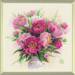 Peonies in a Vase diamond mosaic kit by RIOLIS Ref. no.: AM0009