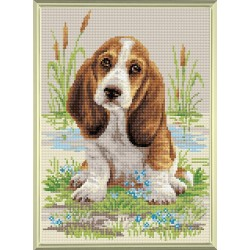 Basset Hound Puppy diamond mosaic kit by RIOLIS Ref. no.: AM0005