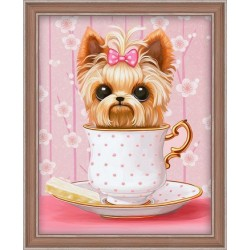 Deimantinis paveikslas Dog in the Cup AZ-1542 20_25cm