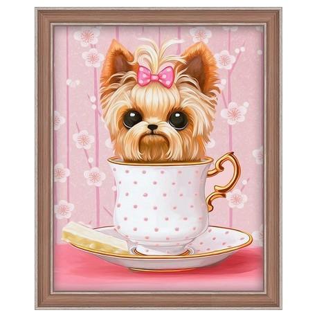 Deimantinis paveikslas Dog in the Cup AZ-1542 20_25cm