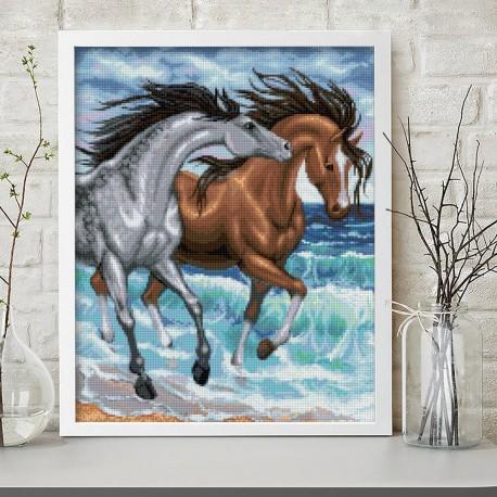 Deimantinis paveikslas Horses at the Sea AZ-1647 40_50cm