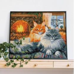 Deimantinis paveikslas 2 Cats AZ-1649 40_50cm