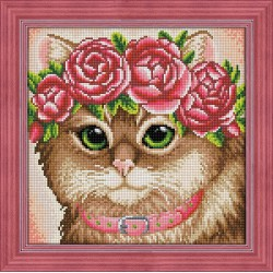 Deimantinis paveikslas Cat in a Flower Crown AZ-1659 30x30cm