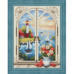 Deimantinis paveikslas Lighthouse out the Window AZ-1665 30x40cm