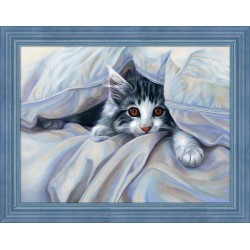 Deimantinis paveikslas Cat Under the Blanket AZ-1680 40x30cm
