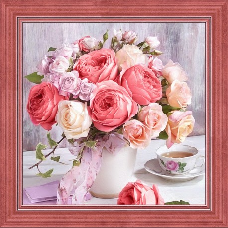 Diamond Painting Kit Peonies and Roses AZ-1696 40x40cm