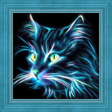 Diamond Painting Kit Neon Cat AZ-1709 25x25cm