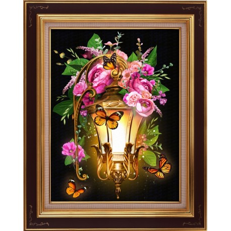 Diamond Painting Kit Lantern and Dogrose AZ-1723 30x40cm