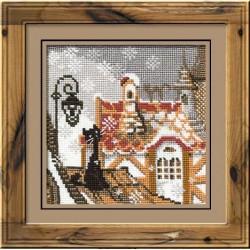 """RIOLIS - Create It Yourself - Siuvinėjimo rinkinys """"Katės žiemiškame mieste"""" 610 (13x13 cm)"""
