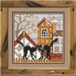 """RIOLIS - Create It Yourself - Siuvinėjimo rinkinys """"Katės rudeniškame mieste"""" 613 (13x13 cm)"""