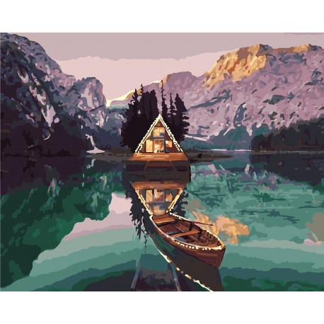 Wizardi Painting by Numbers Kit Alpine Chalet 40x50 cm A040