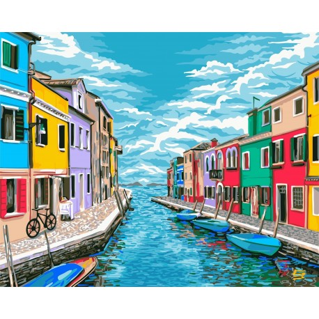 Wizardi Painting by Numbers Kit Venice Roads 40x50 cm A086