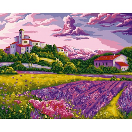 Wizardi Painting by Numbers Kit Warm Evening in Provence 40x50 cm A094