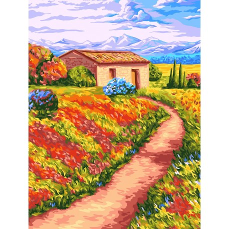 Wizardi Painting by Numbers Kit Fragrant Expanses 40x50 cm A097