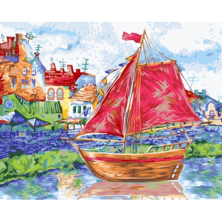 Wizardi Painting by Numbers Kit To New Shores 40x50 cm A098