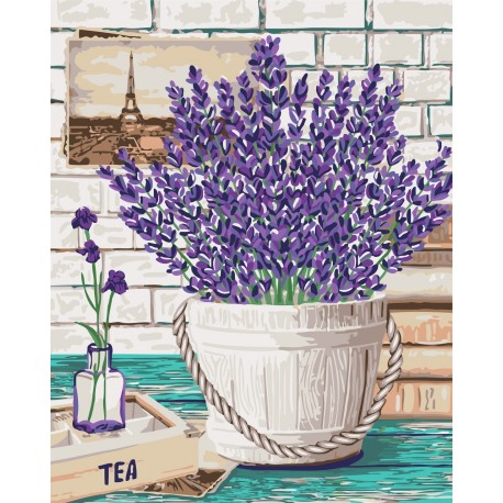 Wizardi Painting by Numbers Kit Lavender Aroma 40x50 cm B080