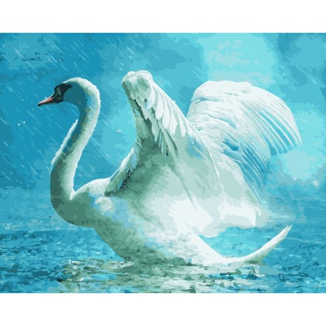 Wizardi Painting by Numbers Kit White Swan 40x50 cm H002