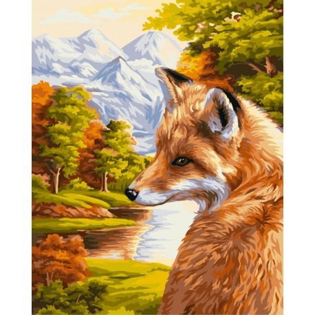Wizardi Painting by Numbers Kit Fox 40x50 cm H055