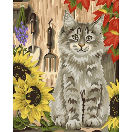 Wizardi Painting by Numbers Kit Kitten and Sunflowers 40x50 cm H058