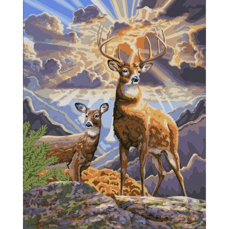 Wizardi Painting by Numbers Kit Northern Deer 40x50 cm H062
