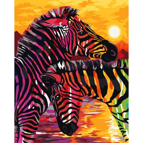 Wizardi Painting by Numbers Kit Colourful Zebras 40x50 cm H069