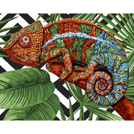 Wizardi Painting by Numbers Kit Chameleon 40x50 cm H102
