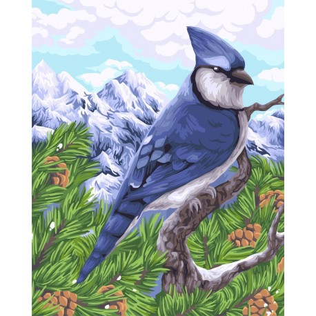 Wizardi Painting by Numbers Kit Blue Jay 40x50 cm H106