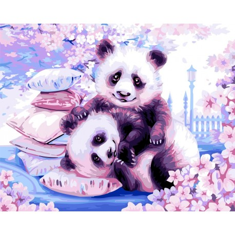 Wizardi Painting by Numbers Kit Japanese Pandas 40x50 cm H107