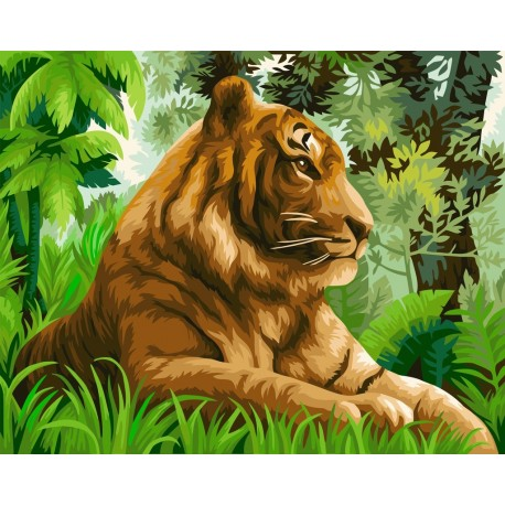 Wizardi Painting by Numbers Kit Tiger in the Jungle 40x50 cm H110
