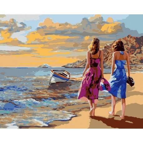 Wizardi Painting by Numbers Kit Beach Walk 40x50 cm J017