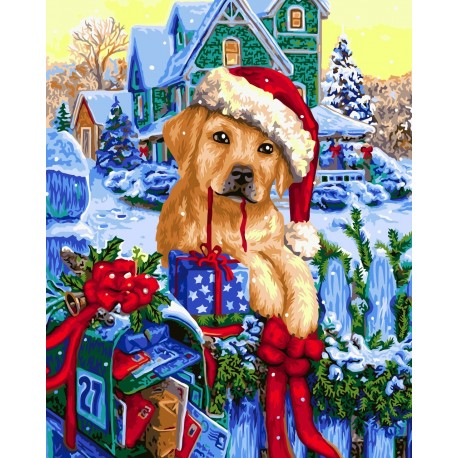 Wizardi Painting by Numbers Kit Christmas Mail 40x50 cm L019