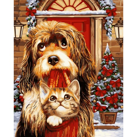 Wizardi Painting by Numbers Kit Waiting for Holiday 40x50 cm L029