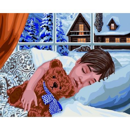Wizardi Painting by Numbers Kit Winter Sleep 40x50 cm L032