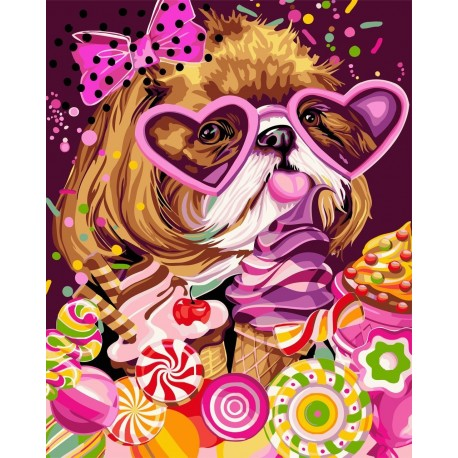 Wizardi Painting by Numbers Kit Sweet Tooth 40x50 cm R008