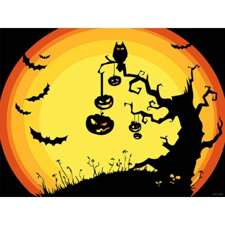 Wizardi Painting by Numbers Kit Horror Tree 16.5x13cm T16130048