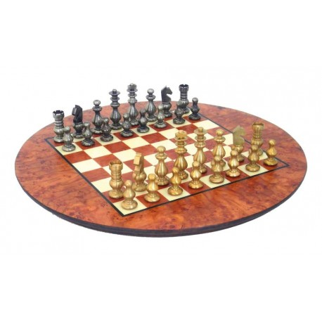 Luxury Solid Brass Chess Set with Briar Elm Wood Chess Board