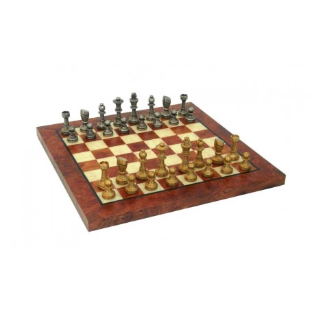 Luxury Solid Brass Chess Set with Elm Wood Chess Board
