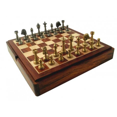 Solid Brass Chess Set with Luxurious Rosewood game Board/Box