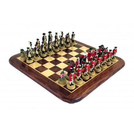 AMERICAN REVOLUTION: Handpainted Chess Set with Rosewood And Maple Chessboard