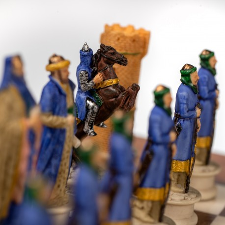 CRUSADE SET: Handpainted Chess Set with Luxurious Briar Elm Chessboard