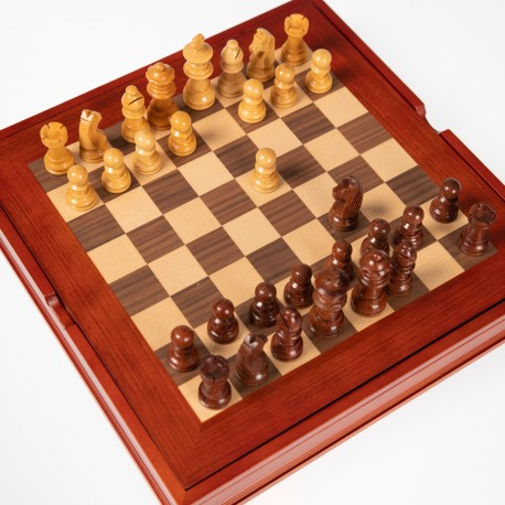 Classic Rosewood Wooden Chess Pieces with Maple Wood Chess Board N°101