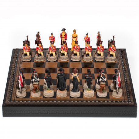 WATERLOO BATTLE: Handpainted Chess Set with Leatherette Chessboard + Box + Checker Set